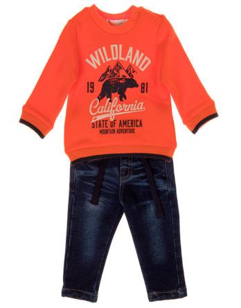 Conjunto de bebé niño naranja pantalón vaquero