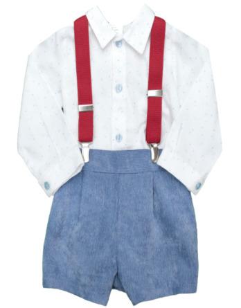 Conjunto de bebé niño azulón con tirantes rojos