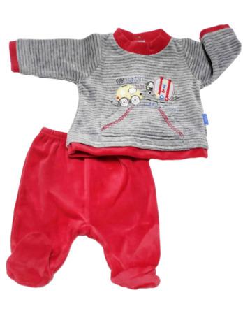 Conjunto primera puesta bebé niño terciopelo rojo y gris