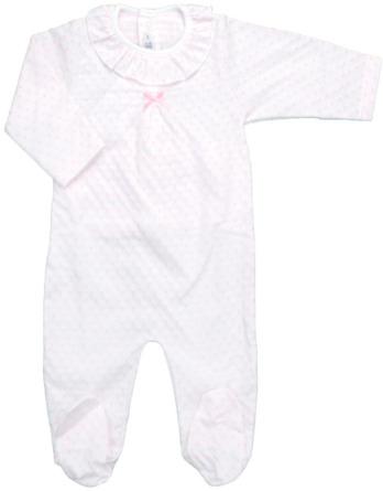 Pelele de niña bebé algodón m/l blanco topos rosa