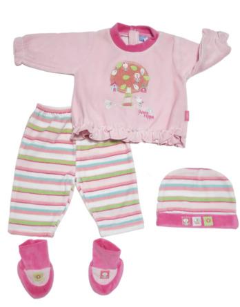 Conjunto primera puesta bebé niña terciopelo rayas fucsia