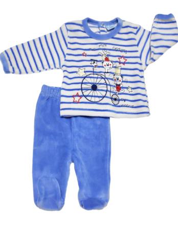 Conjunto primera puesta bebé niño terciopelo rayas celeste