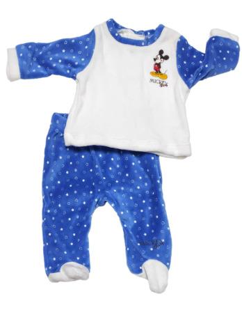 Conjunto primera puesta bebé niño terciopelo Mickey azul y blanco