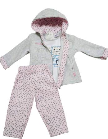Chándal de bebé niña algodón estrellas gris y rosa