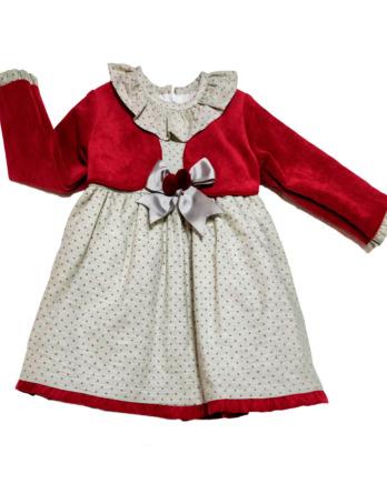 Vestido de bebé niña vestir lazos granate y beige