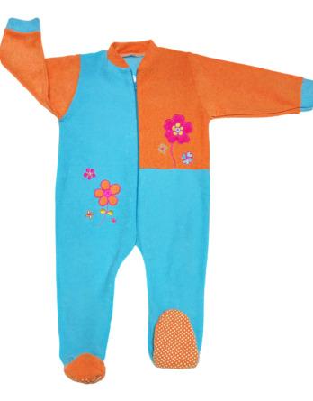 Pelele de niña bebé rizo m/l naranja y azul