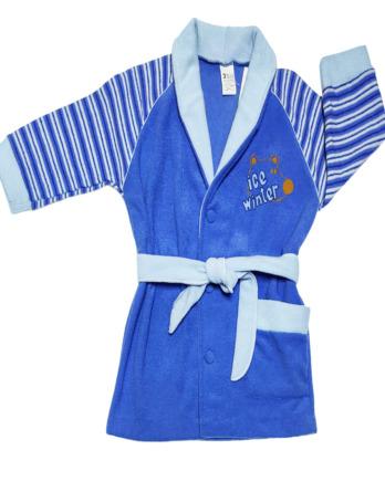 Bata de niño rizo azul