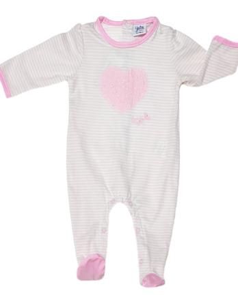 Pelele de niña bebé m/l corazón rayas rosas