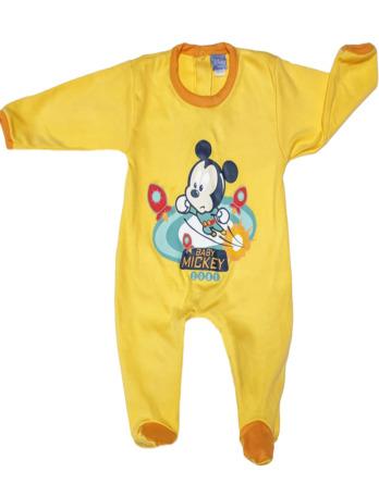 Pelele de niño bebé algodón m/l Mickey amarillo