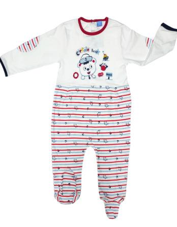 Pelele de niño bebé algodón m/l rayas azul y rojo