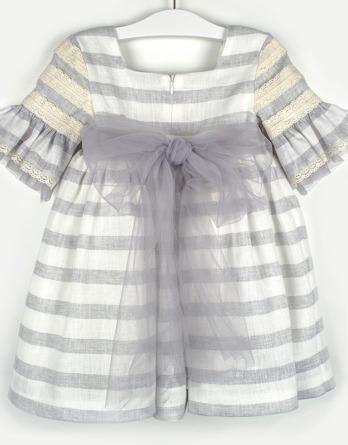 Vestido de niña de lino rayas grises y crudo