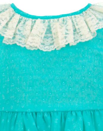 Vestido de niña de tul y topos turquesa