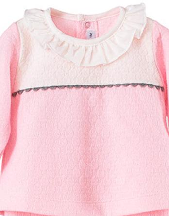 Conjunto primera puesta bebé niña algodón rosa