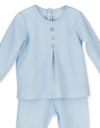 Conjunto primera puesta bebé niño algodón celeste
