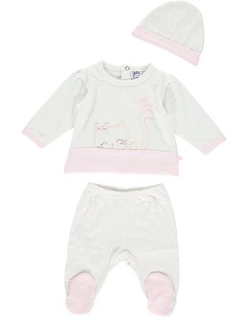 Conjunto primera puesta bebé niña algodón crudo y rosa