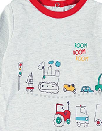Conjunto primera puesta bebé niño algodón coches gris