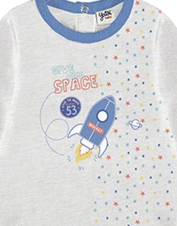 Conjunto primera puesta bebé niño algodón cohete gris