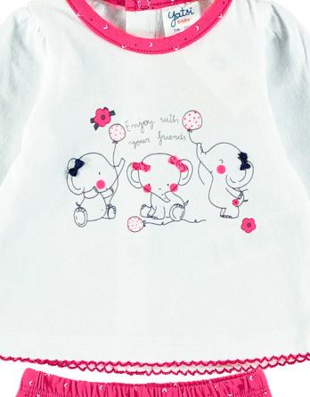Conjunto primera puesta bebé niña algodón elefante fucsia