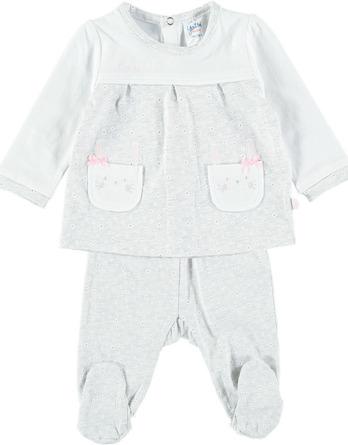 Conjunto primera puesta bebé niña algodón flores gris
