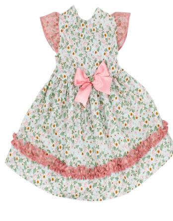 Vestido de niña con flores verdes