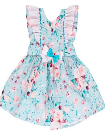 Vestido de niña con flores azul y rosa