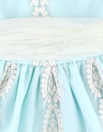 Vestido de niña de tul y flores turquesa
