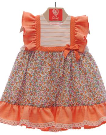 Vestido de bebé niña con flores naranjas