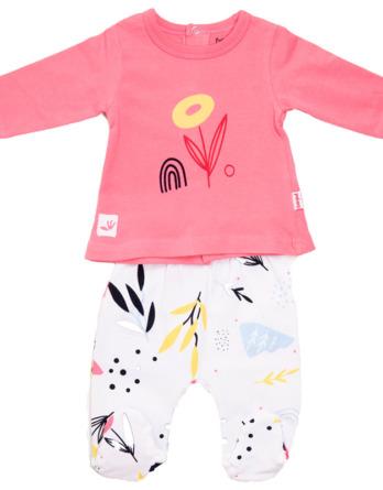 Conjunto primera puesta bebé niña algodón rosa chicle