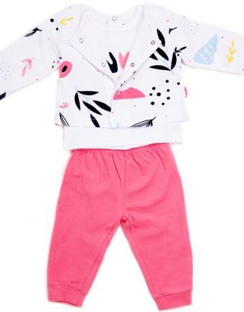 Conjunto de bebé niña algodón fino blanco y rosa