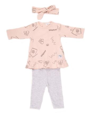 Conjunto de bebé niña algodón leggins salmón y gris