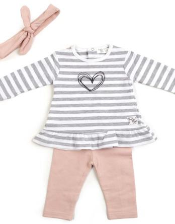 Conjunto de bebé niña algodón leggins rayas grises