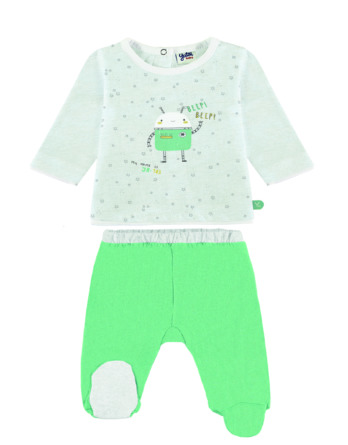 Conjunto primera puesta bebé niño algodón robot verde