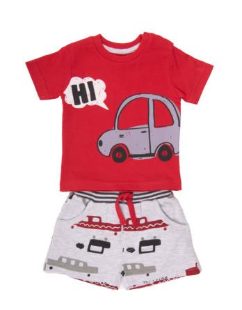 Conjunto de bebé niño verano coches rojo y gris