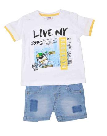 Conjunto de bebé niño live NY con vaquero corto