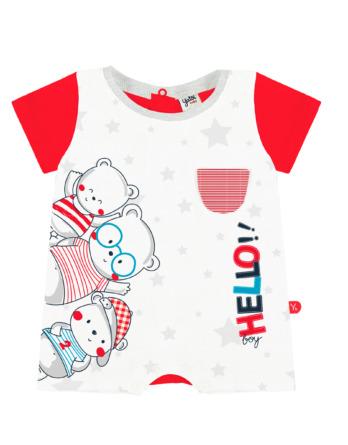Pelele de niño bebé m/c corto estrellas rojas