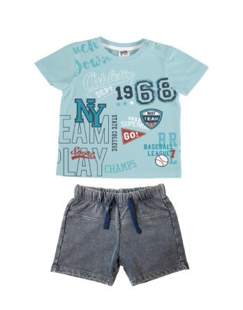 Conjunto de bebé niño verano 68 turquesa