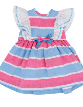 Vestido de niña de rayas rosa y azul