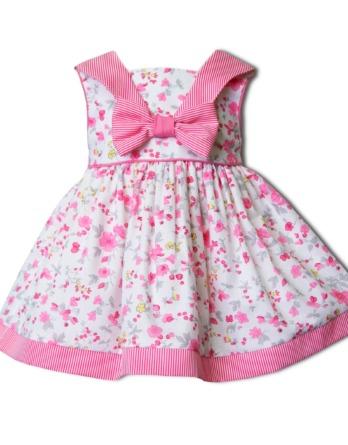 Vestido de niña flores rosa