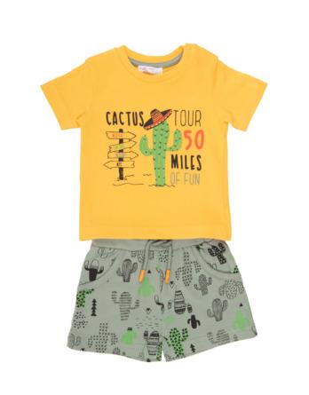 Conjunto de niño verano cactus amarillo con pantalón corto