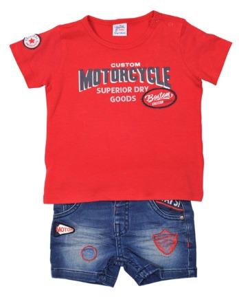 Conjunto de niño verano rojo con pantalón vaquero corto
