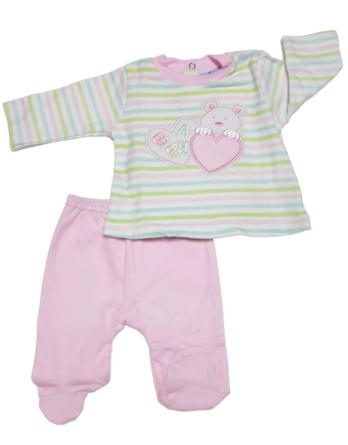 Conjunto primera puesta bebé niña algodón rosa con rayas