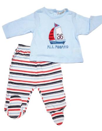 Conjunto primera puesta bebé niño algodón barco rayas celestes