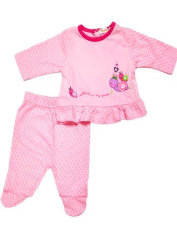Conjunto primera puesta bebé niña algodón con topitos rosa