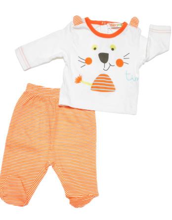 Conjunto primera puesta bebé niño algodón con rayas naranjas
