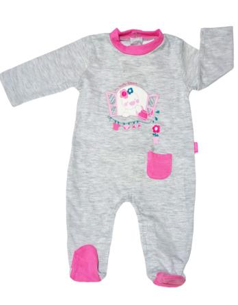 Pelele de bebé niña bebé m/l gris y rosa