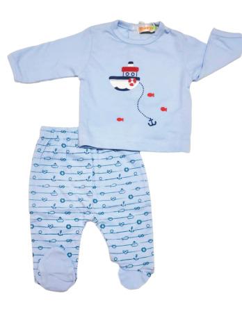 Conjunto primera puesta bebé niño algodón barco celeste