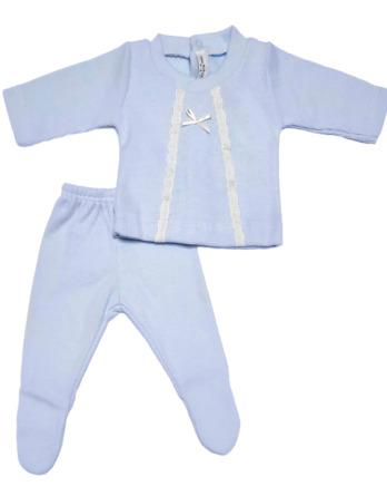 Conjunto primera puesta bebé niño algodón micropiqué celeste