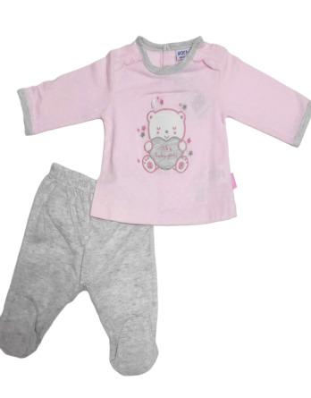 Conjunto primera puesta bebé niña algodónoso rosa y gris