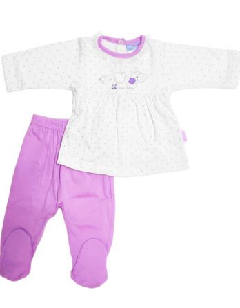Conjunto primera puesta bebé niña algodón lila y blanco