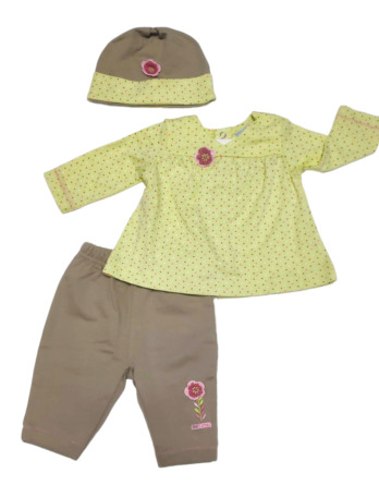 Conjunto primera puesta bebé niña algodón verde